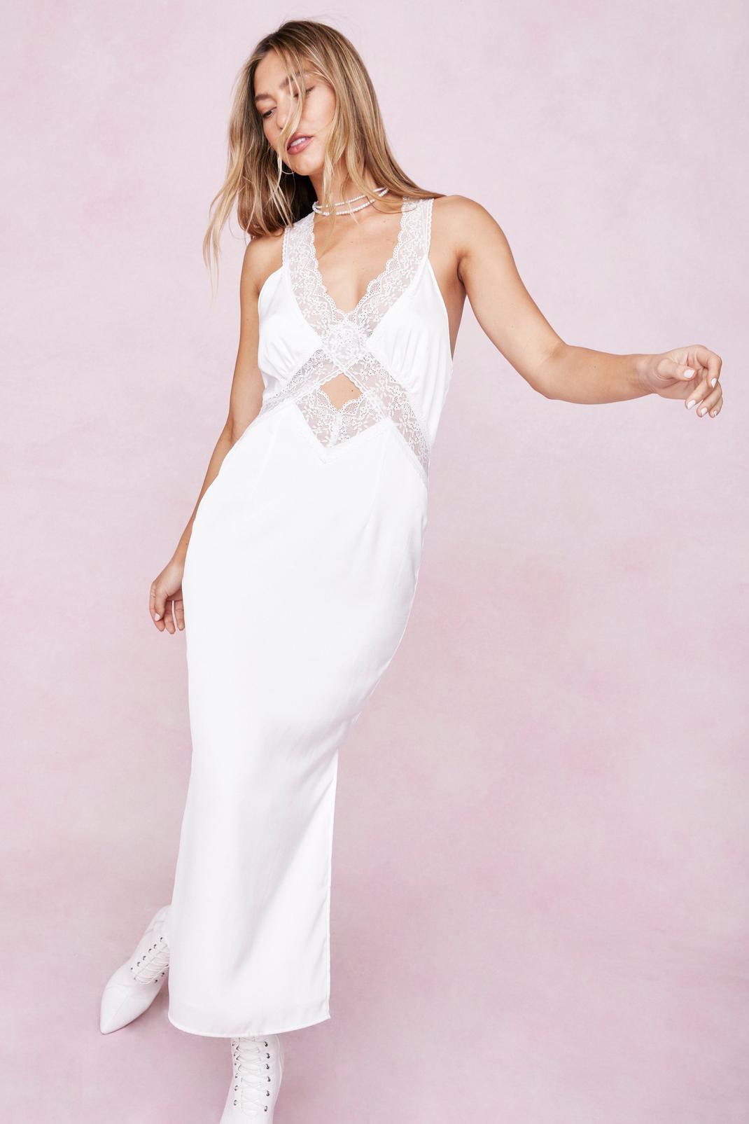 Satin Lace Trim Cut Out Midi Dress