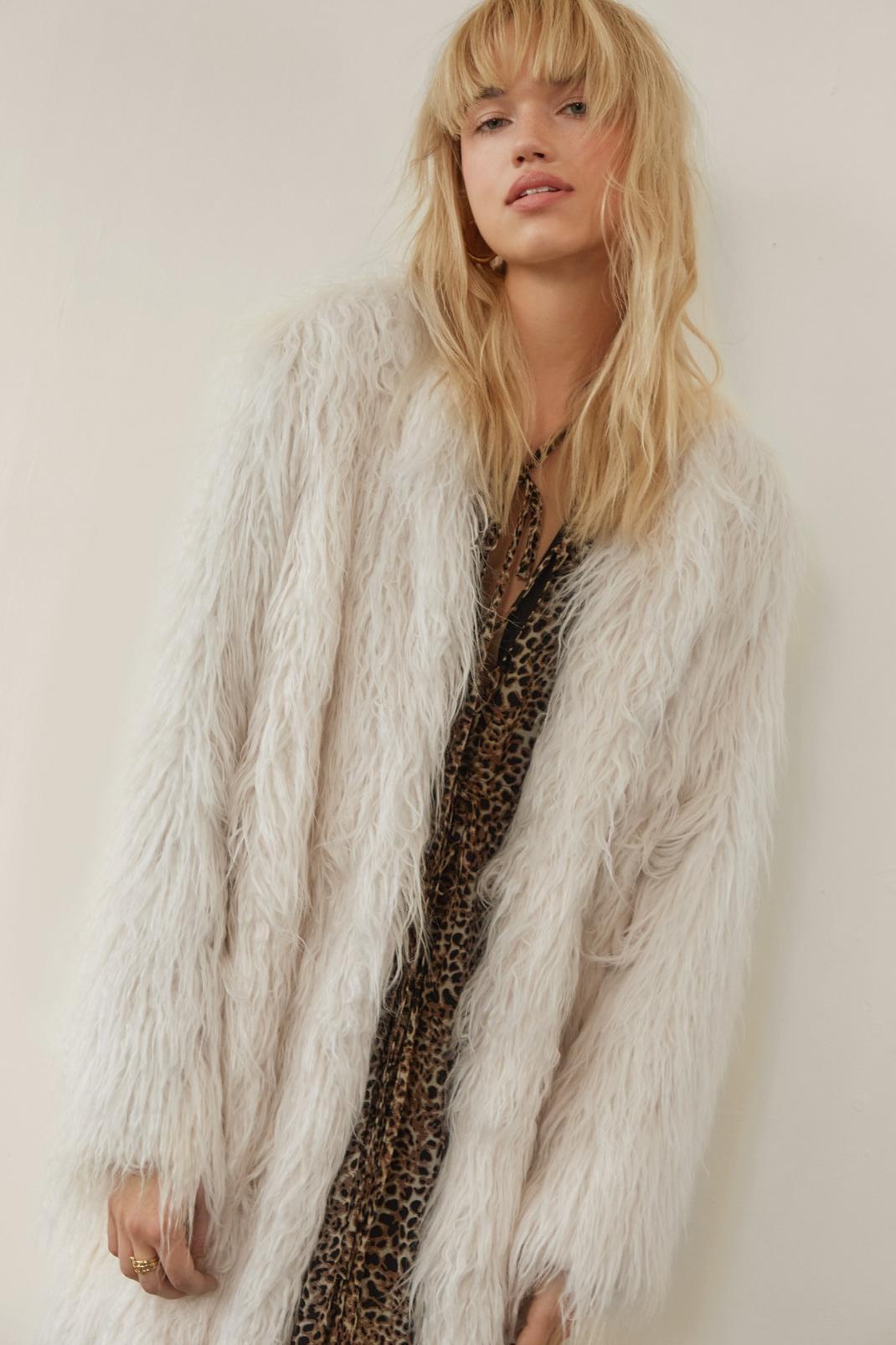 Long Shaggy Faux Fur Coat