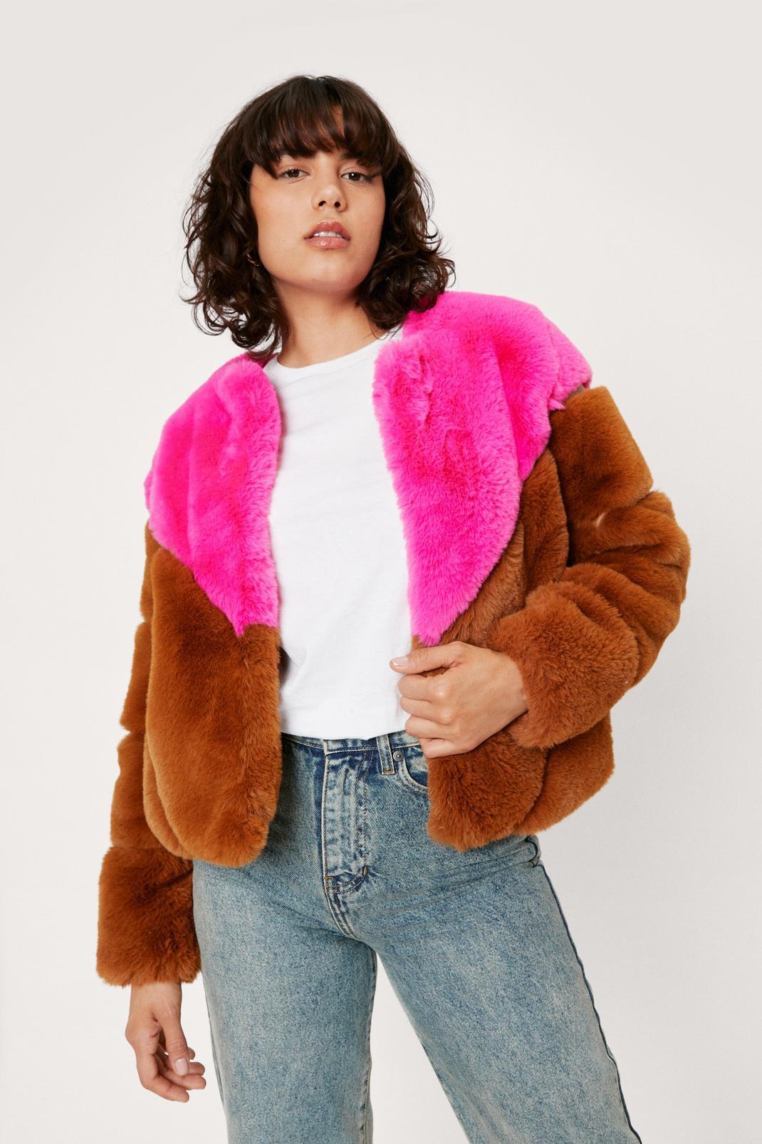 Short Colorblock Faux Fur Jacket