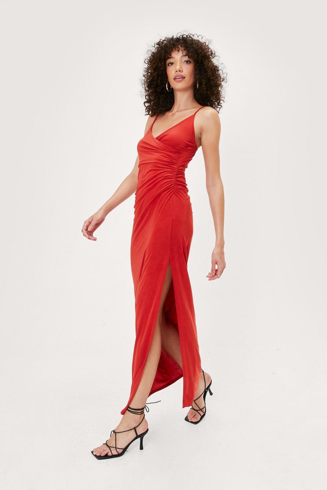 Red Slinky Wrap Split Hem Maxi Dress