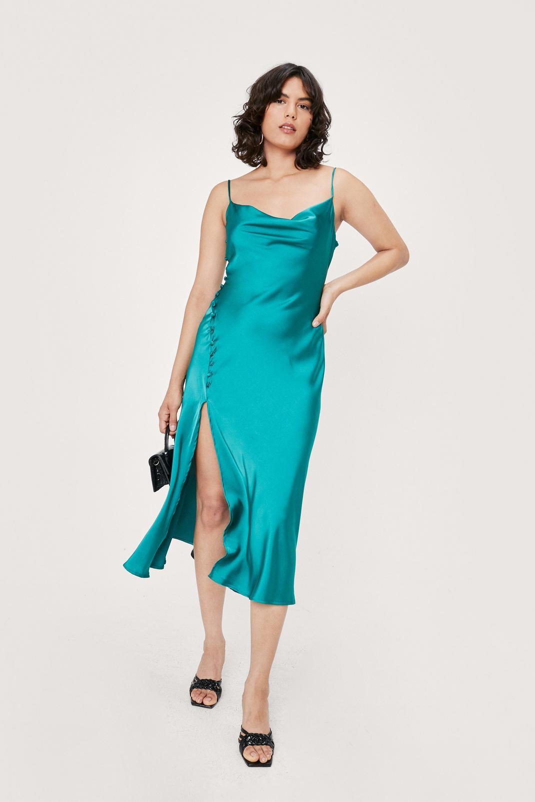 Satin Button Detail Cowl Neck Midi Dress