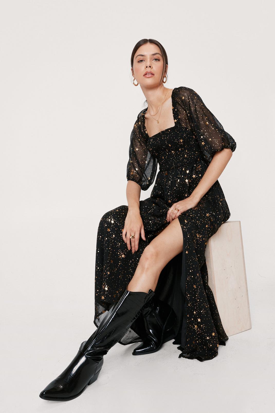 Star Print Maxi Slit Dress