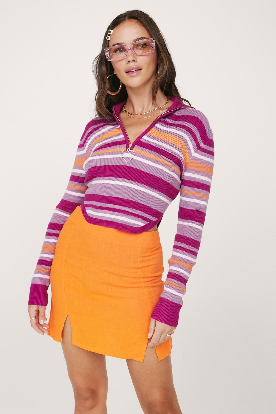 Long Sleeve Striped Cropped Heart Zip Sweater