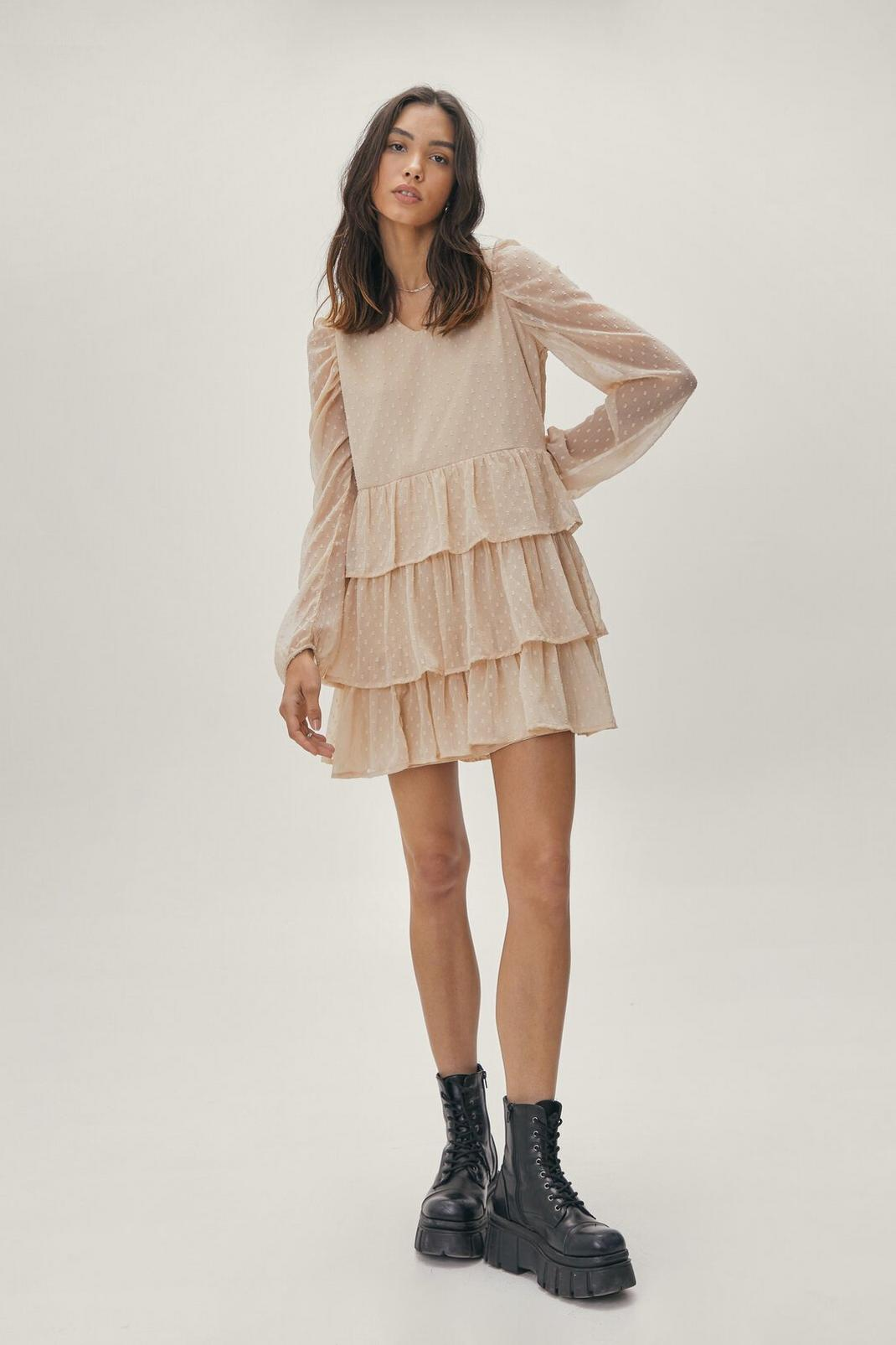 Tiered Puff Sleeve Mini Dress