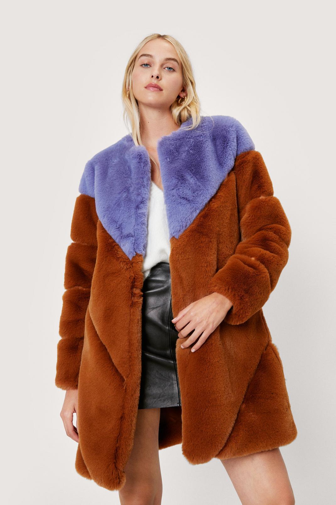 Two Tone Faux Fur Coat