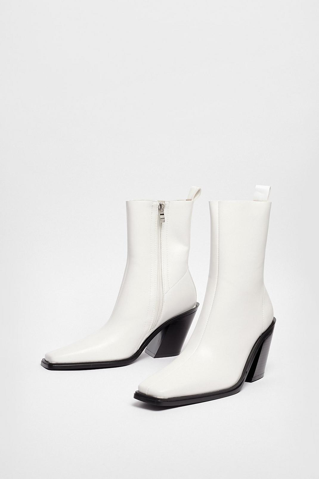 Western Faux Leather High Ankle Boots