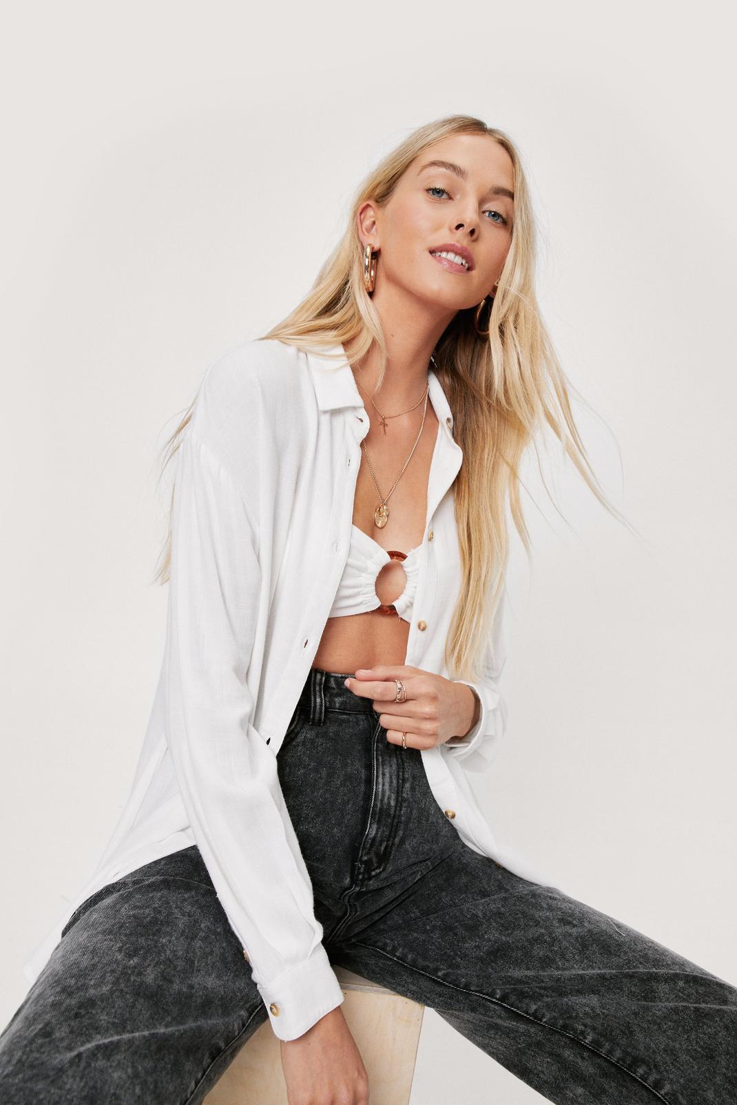 White Open Shirt and Bralette Set