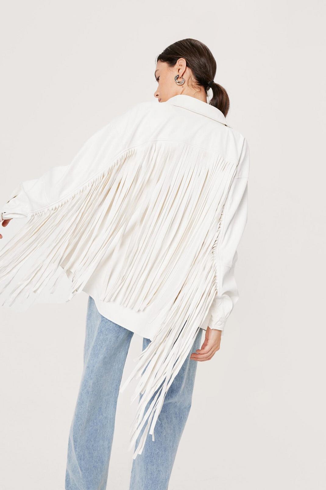 Fringed Faux Leather Shirt Jacket