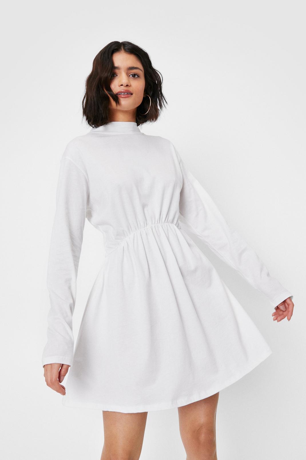 High Neck Long Sleeve Mini Dress