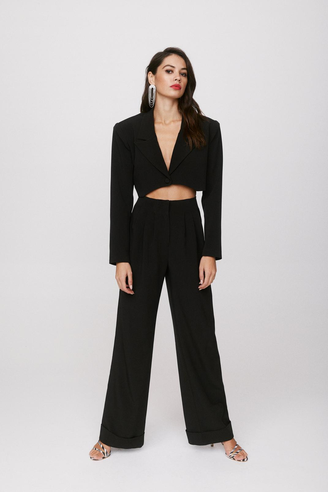Wide Leg Tailored Pleated Pants