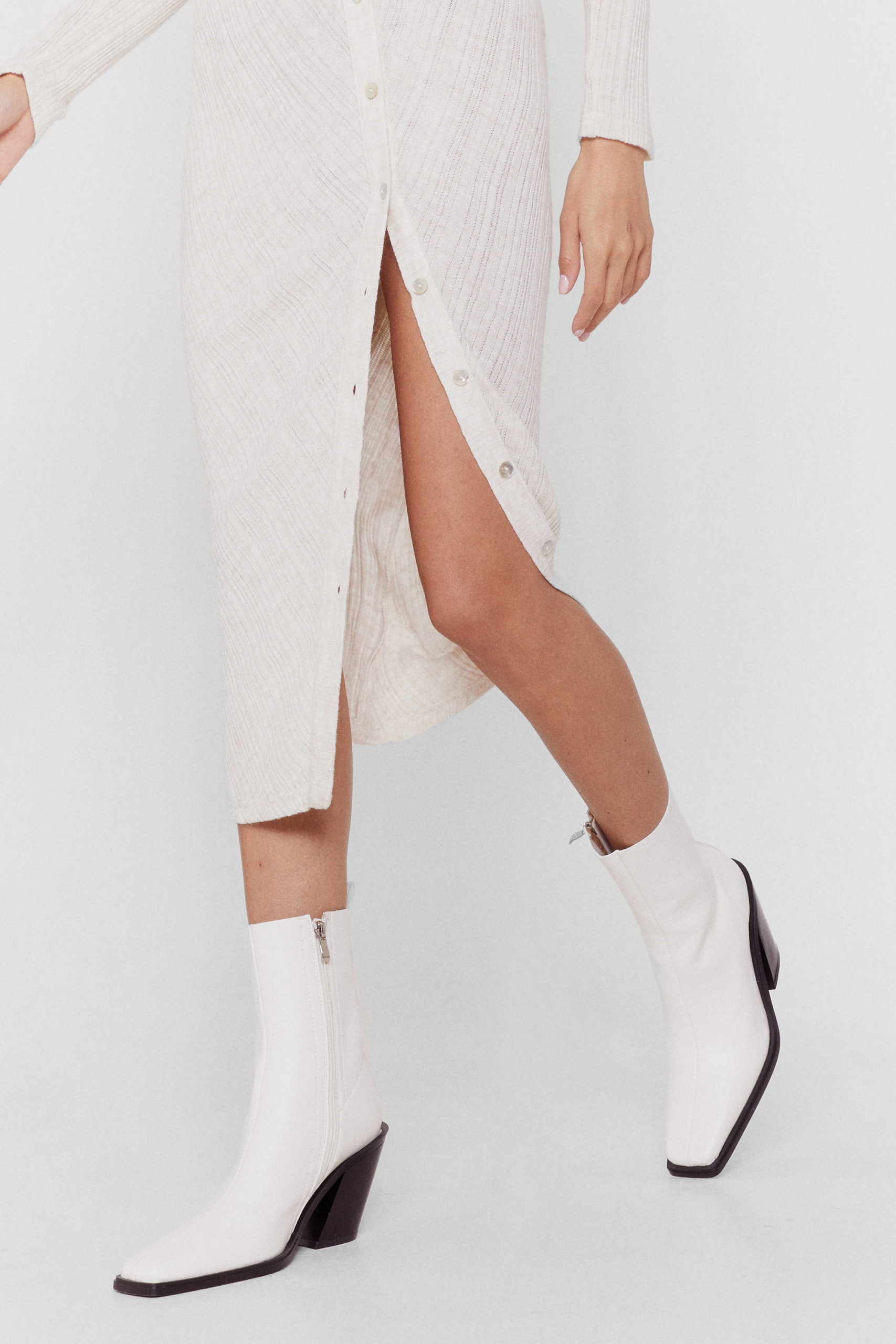 White Faux Leather High Ankle Boots