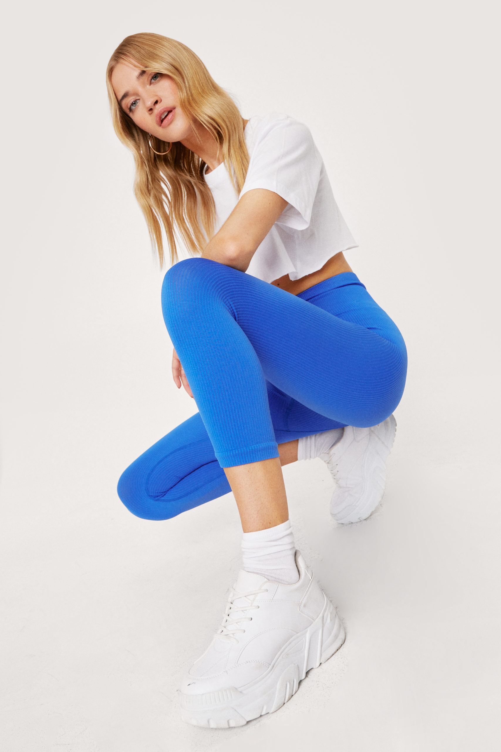 Blue Cropped Ribbed Workout Leggings