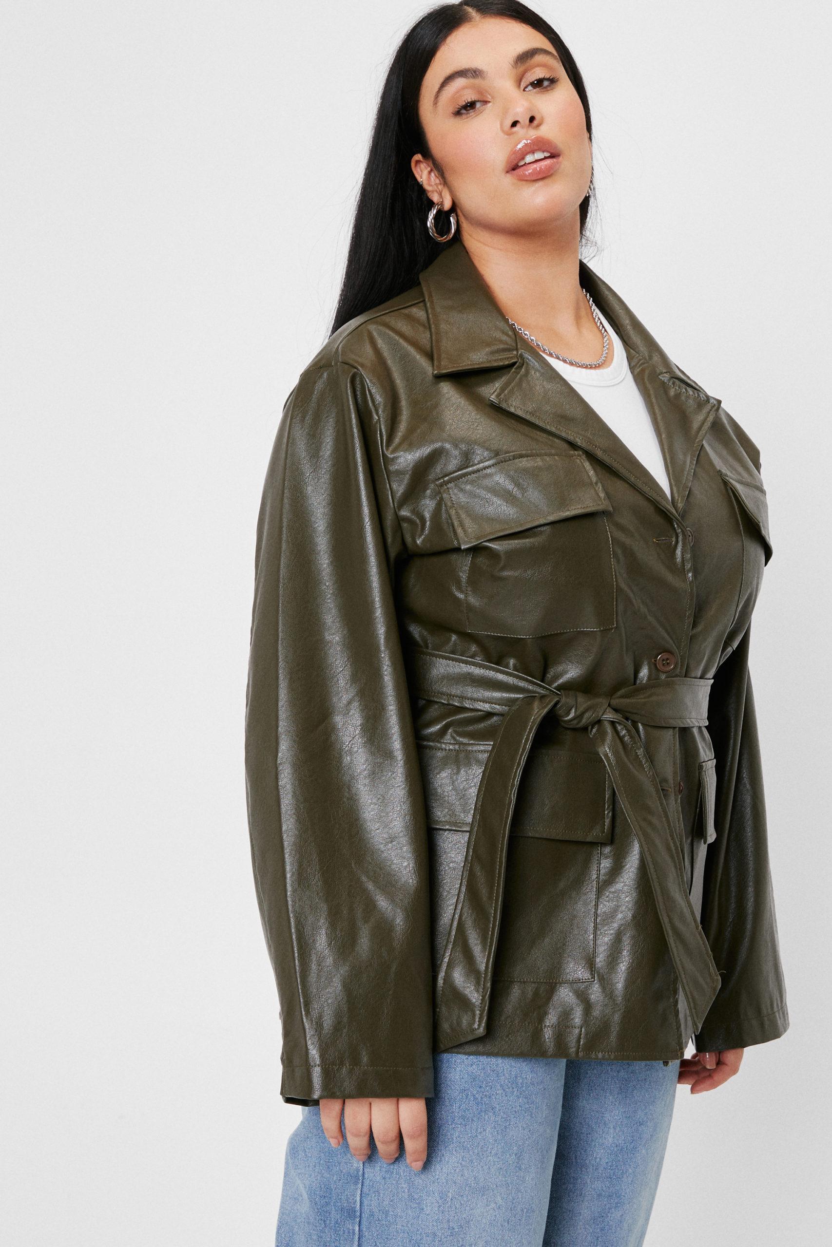 Plus Size Olive Faux Leather Jacket