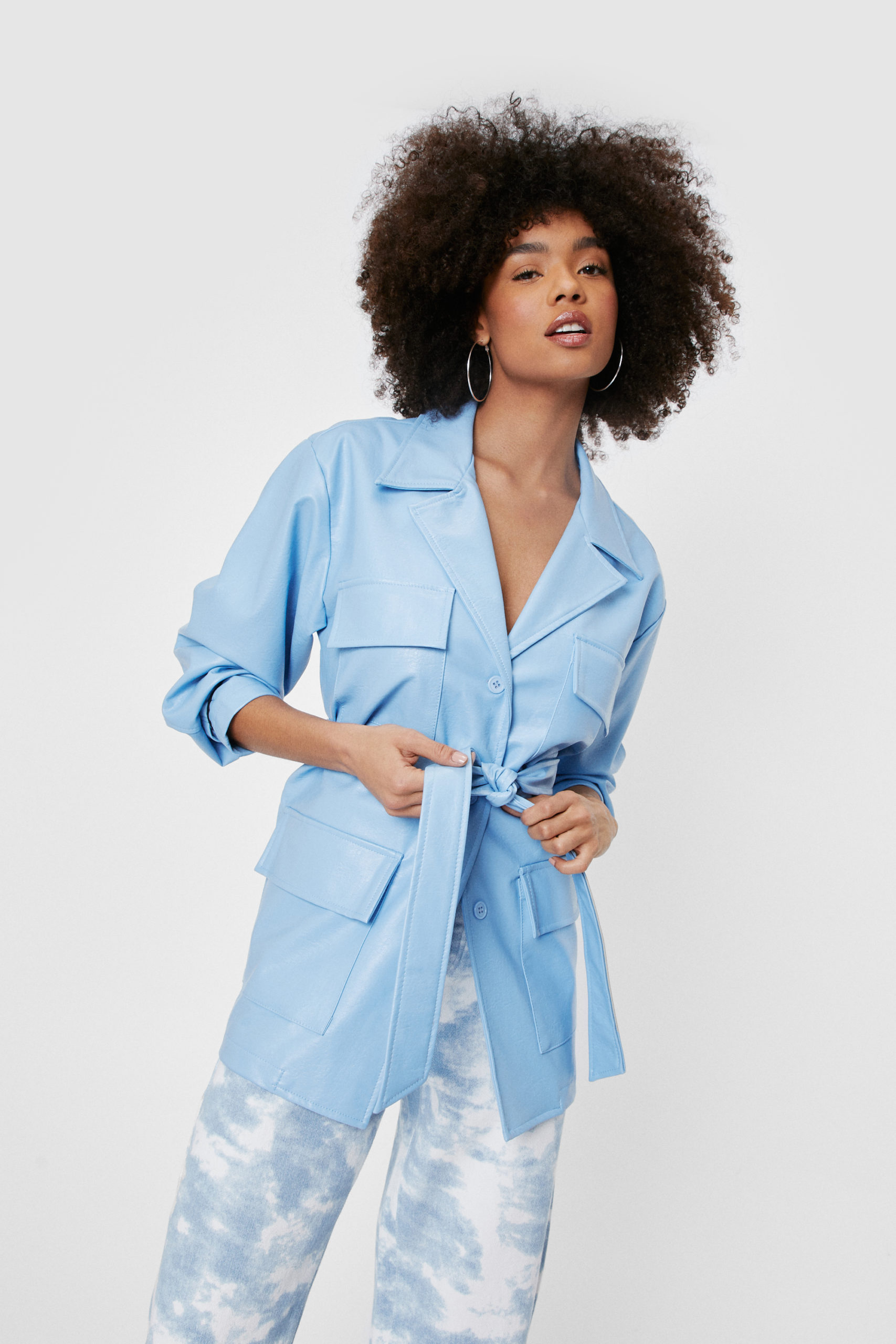 Blue Belted Faux Leather Jacket