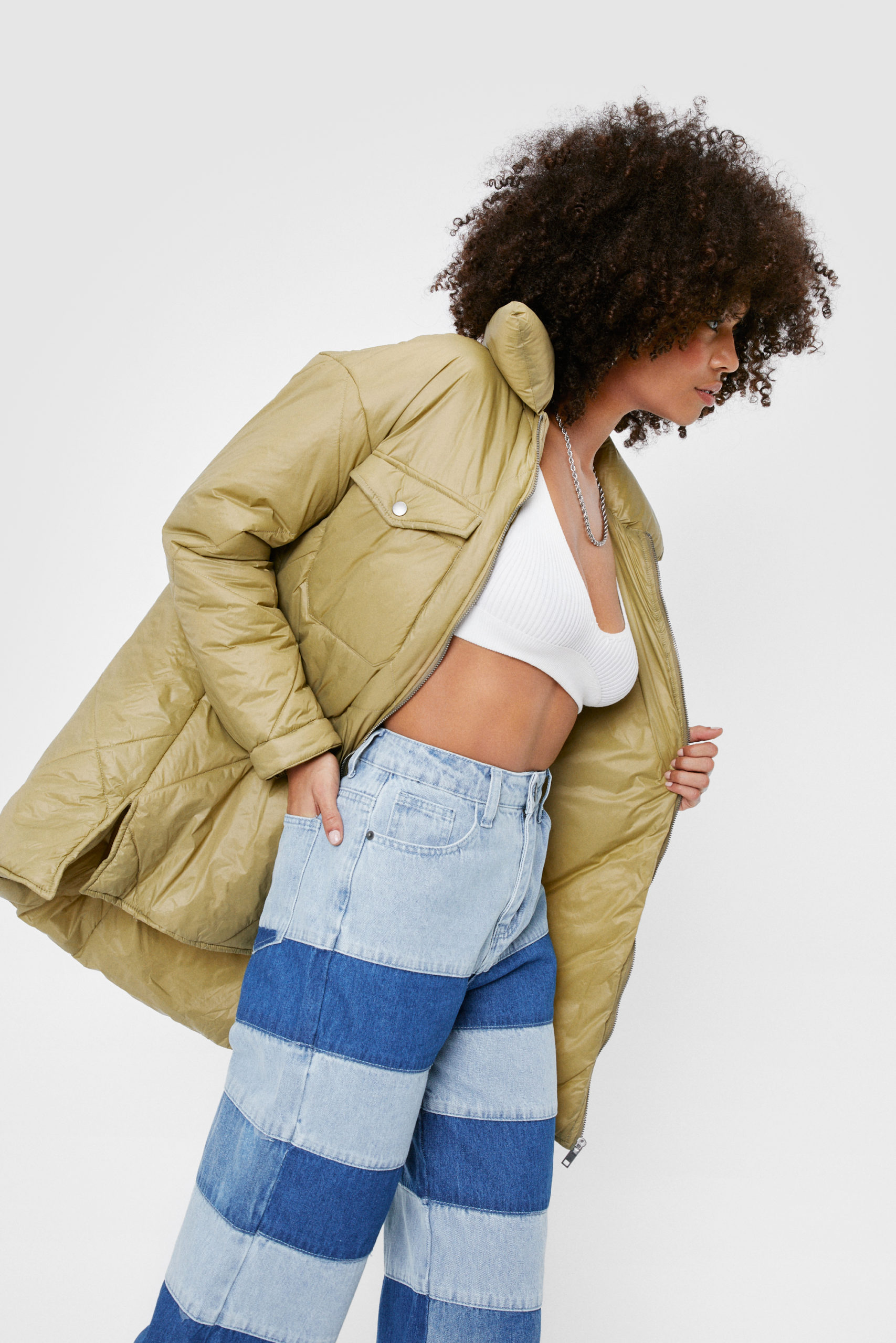 Olive Quilted Puffer Jacket