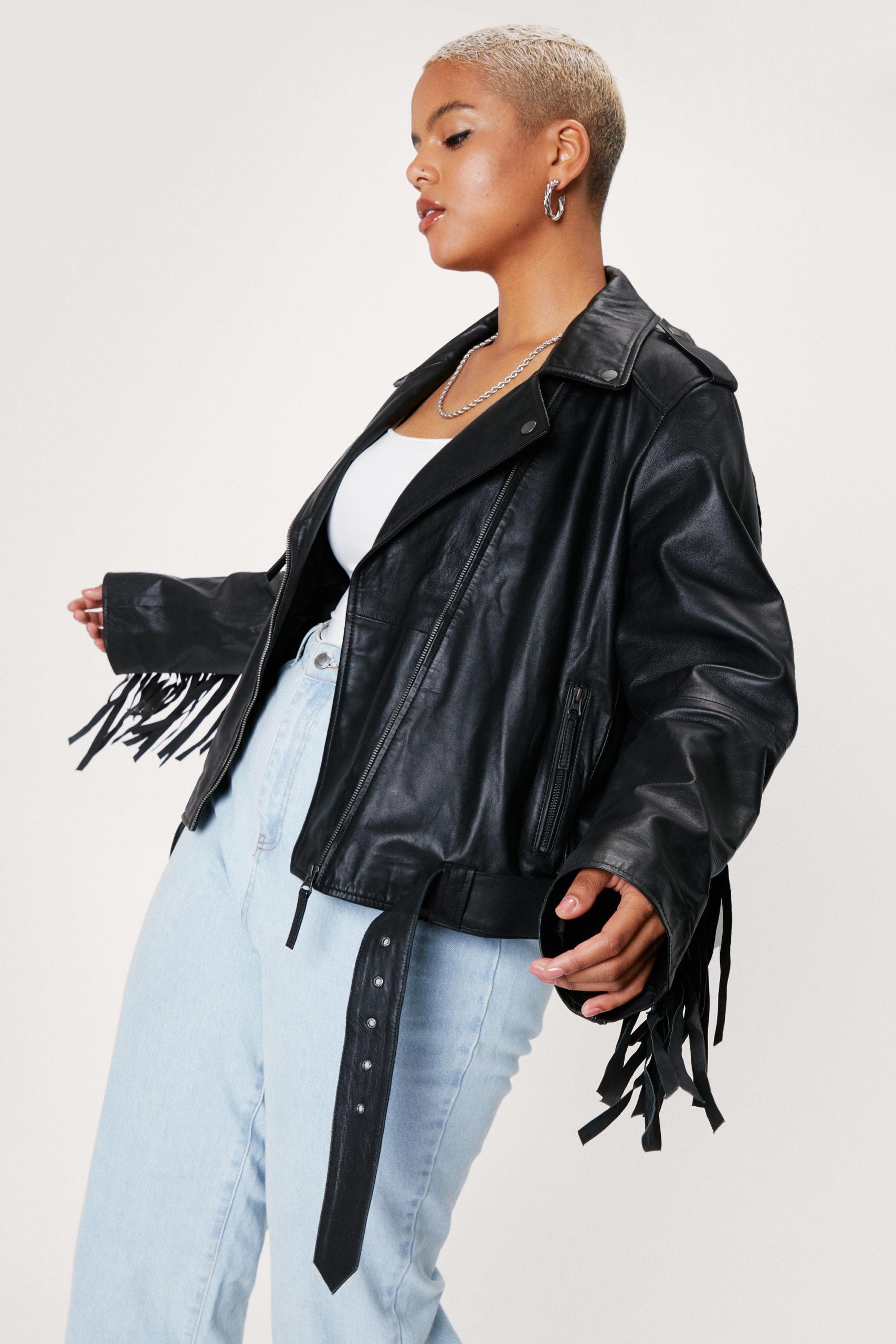 Plus Size Fringe Biker Jacket