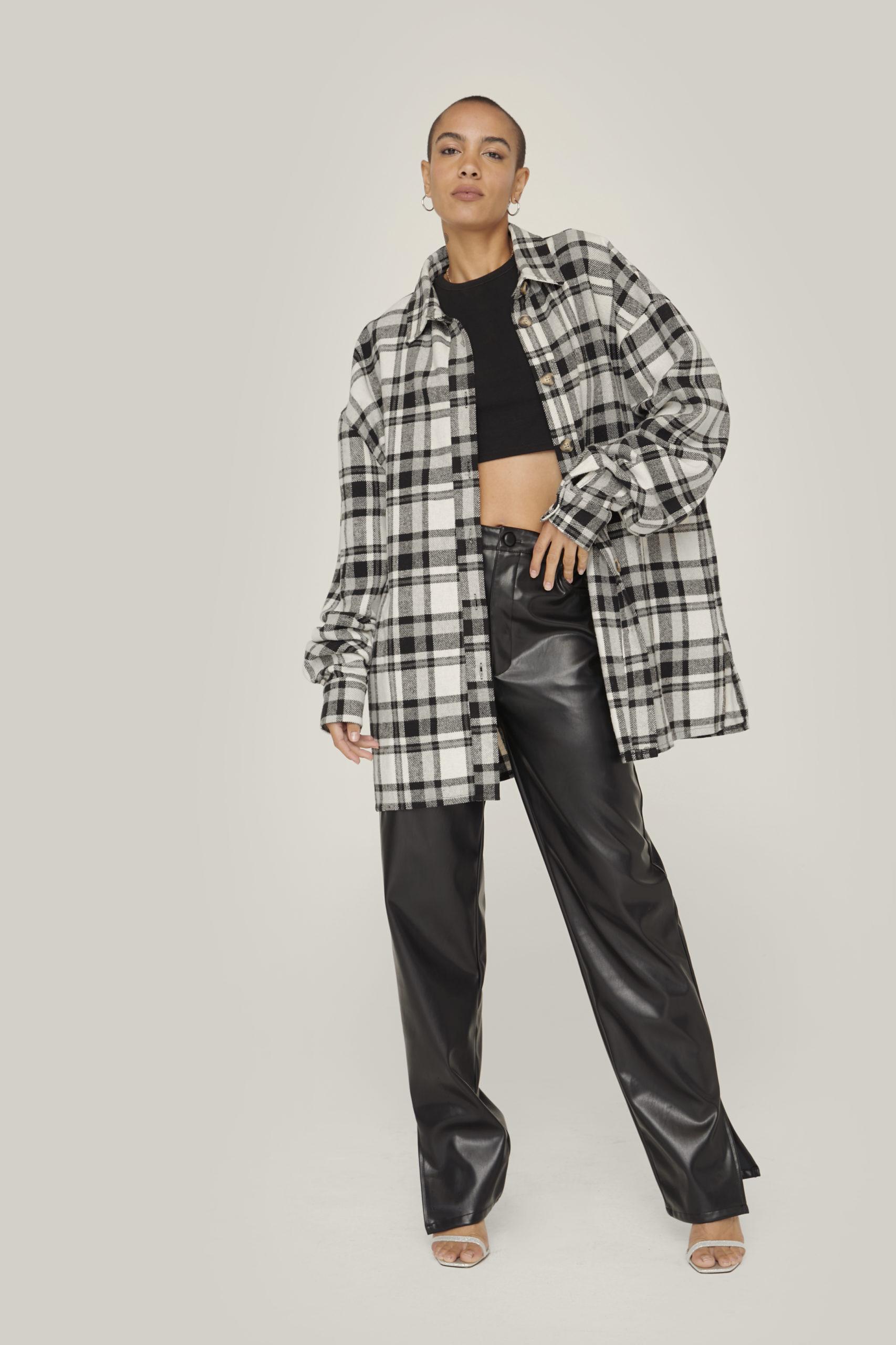 Monochrome Oversized Flannel Jacket