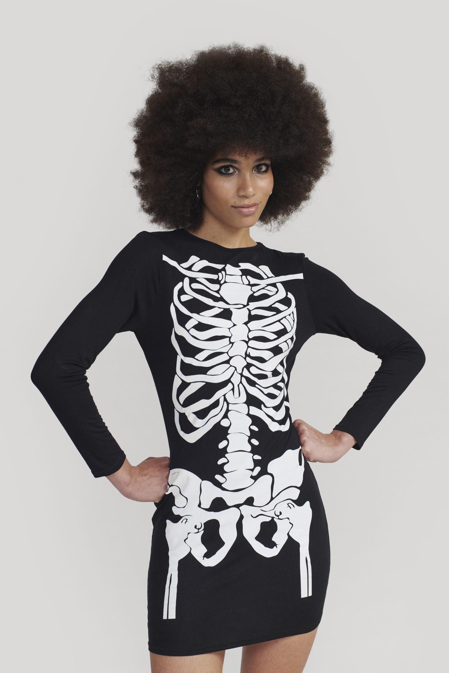 Long Sleeve Skeleton Mini Bodycon Dress