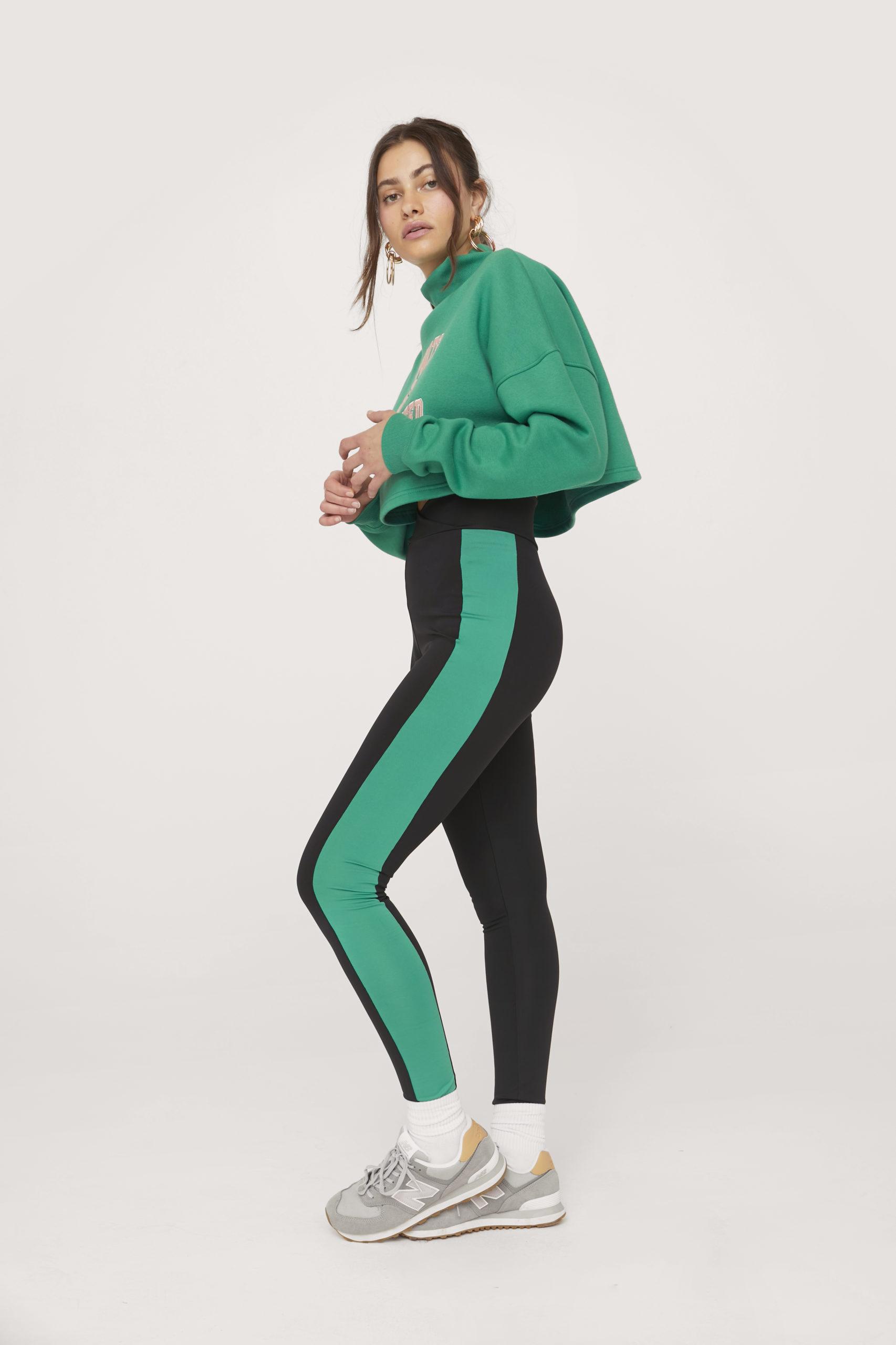Green Stripe Workout Leggings