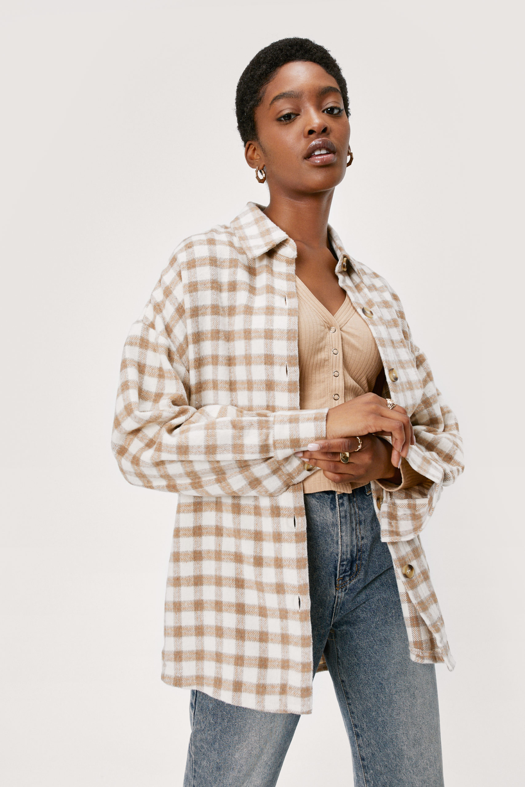 Oversized Wool Look Check Shirt