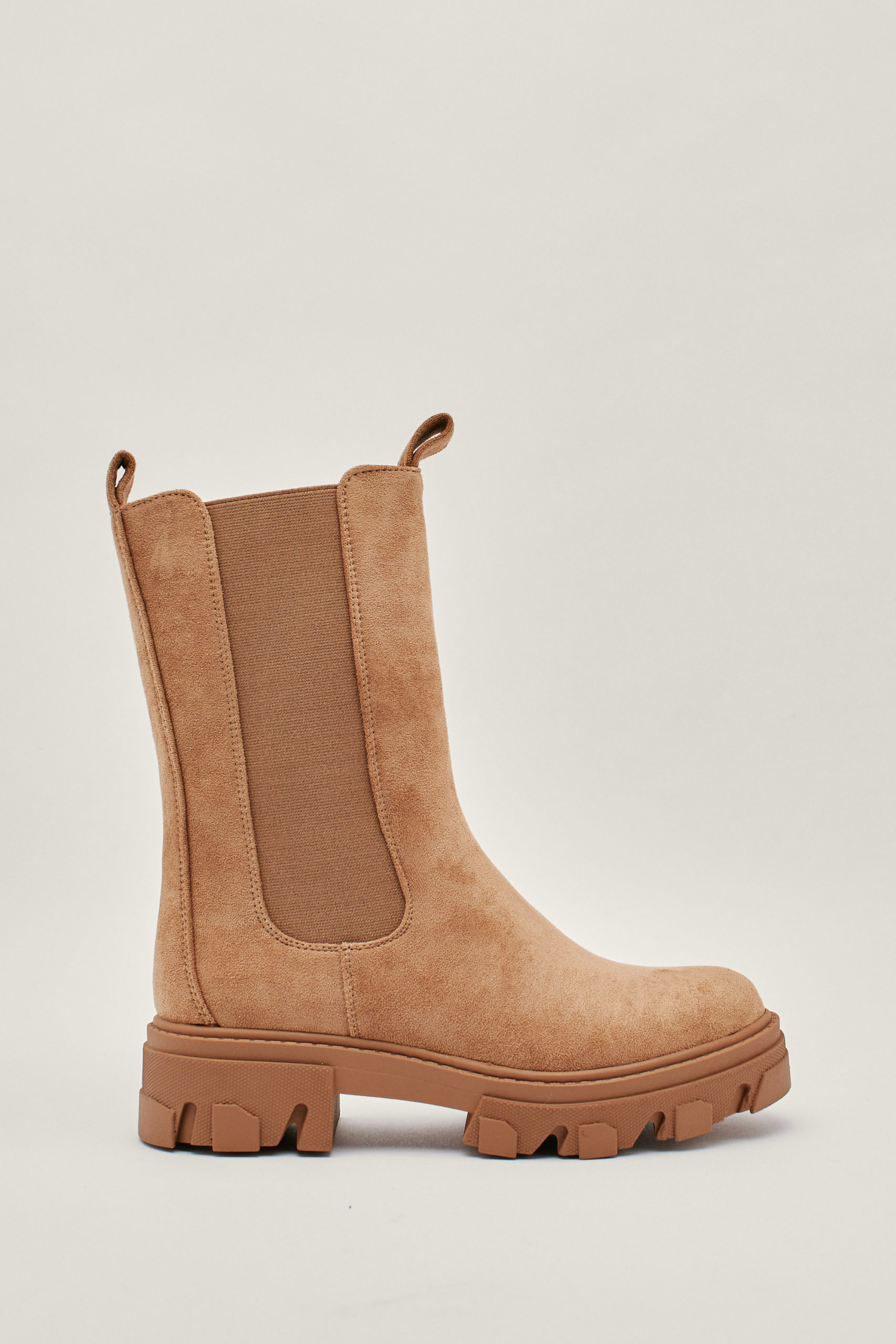 Faux Suede High Chelsea Boots