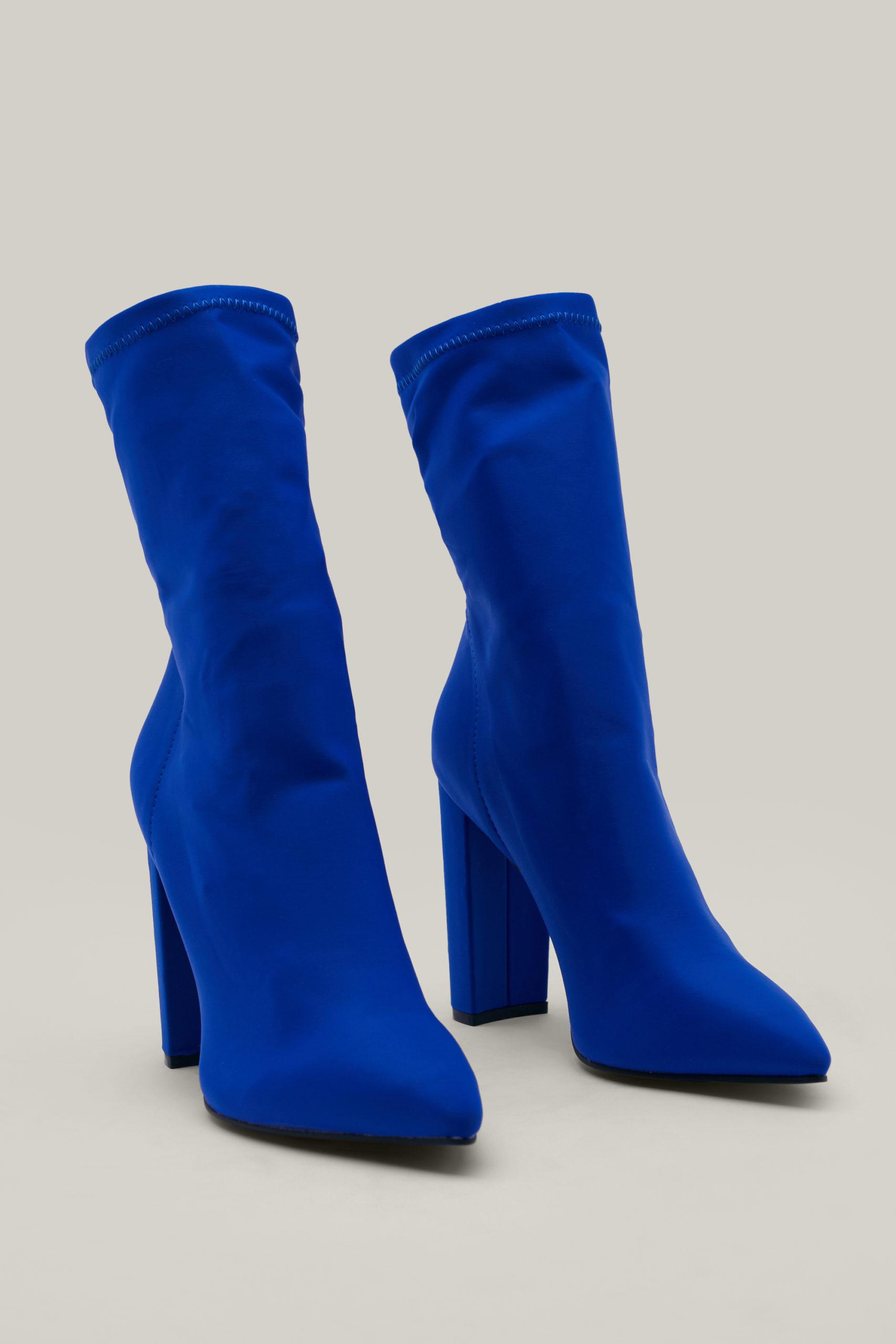 Blue Slinky Sock Boots