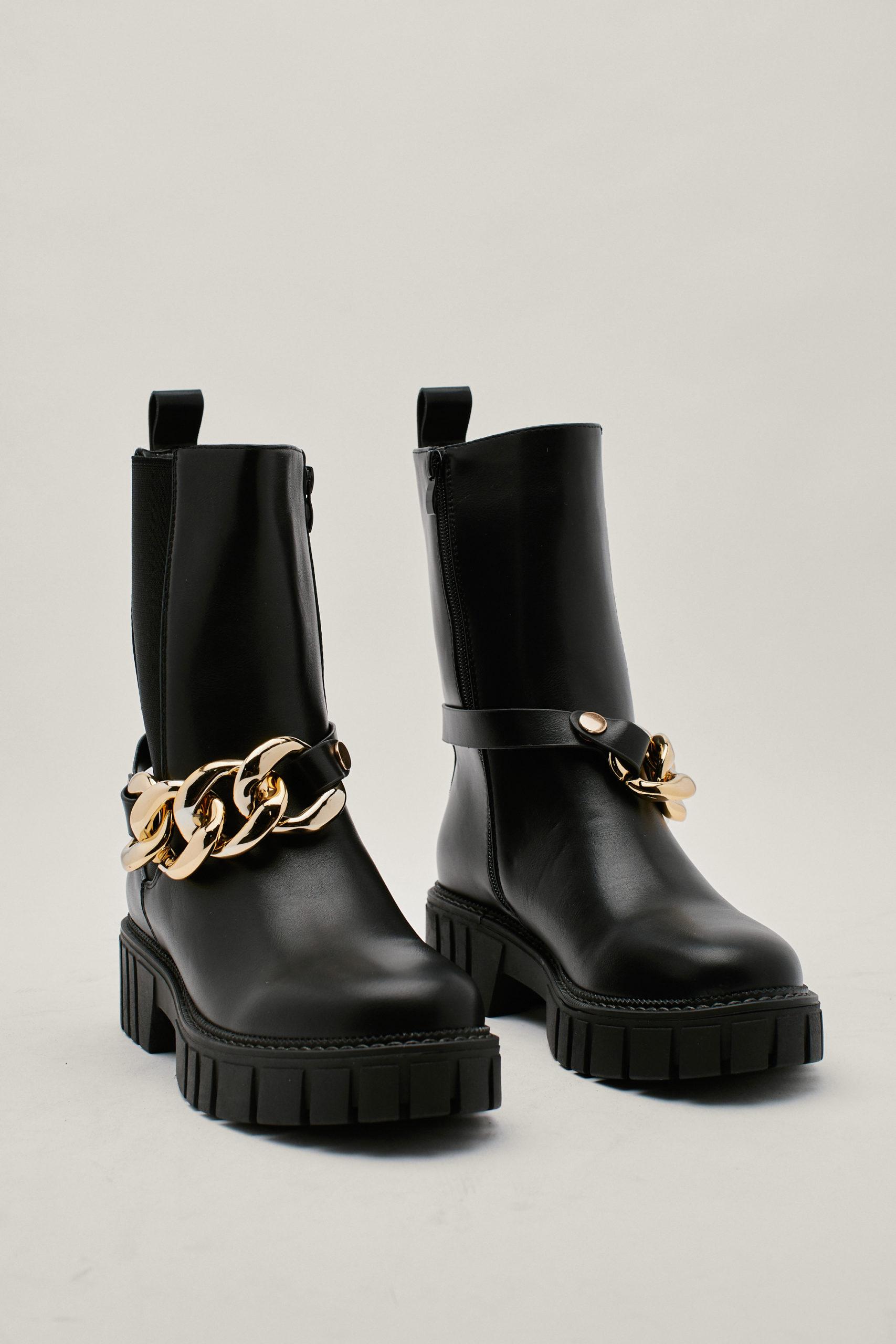 Chunky Chain High Chelsea Boots