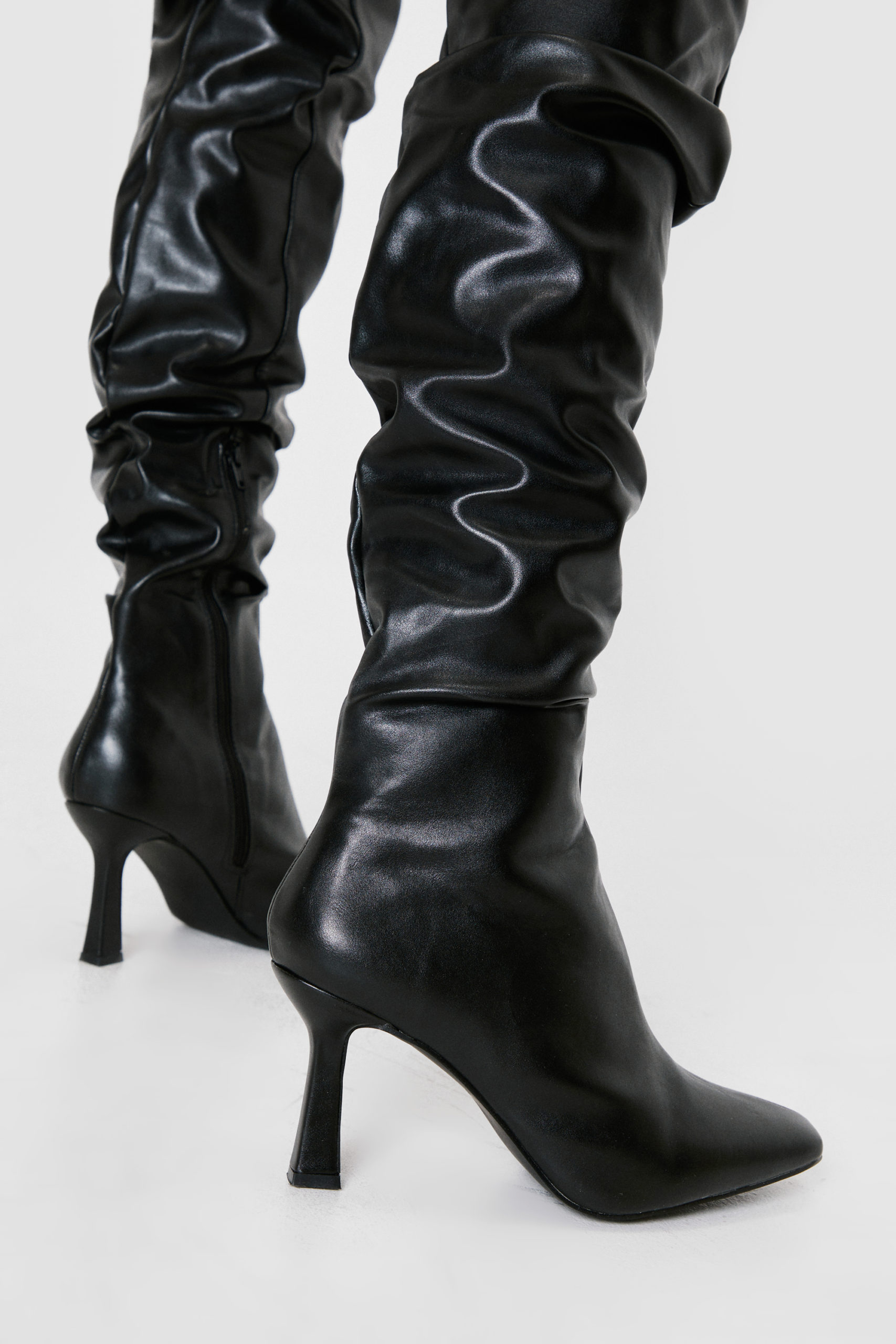 Stiletto Faux Leather Boots