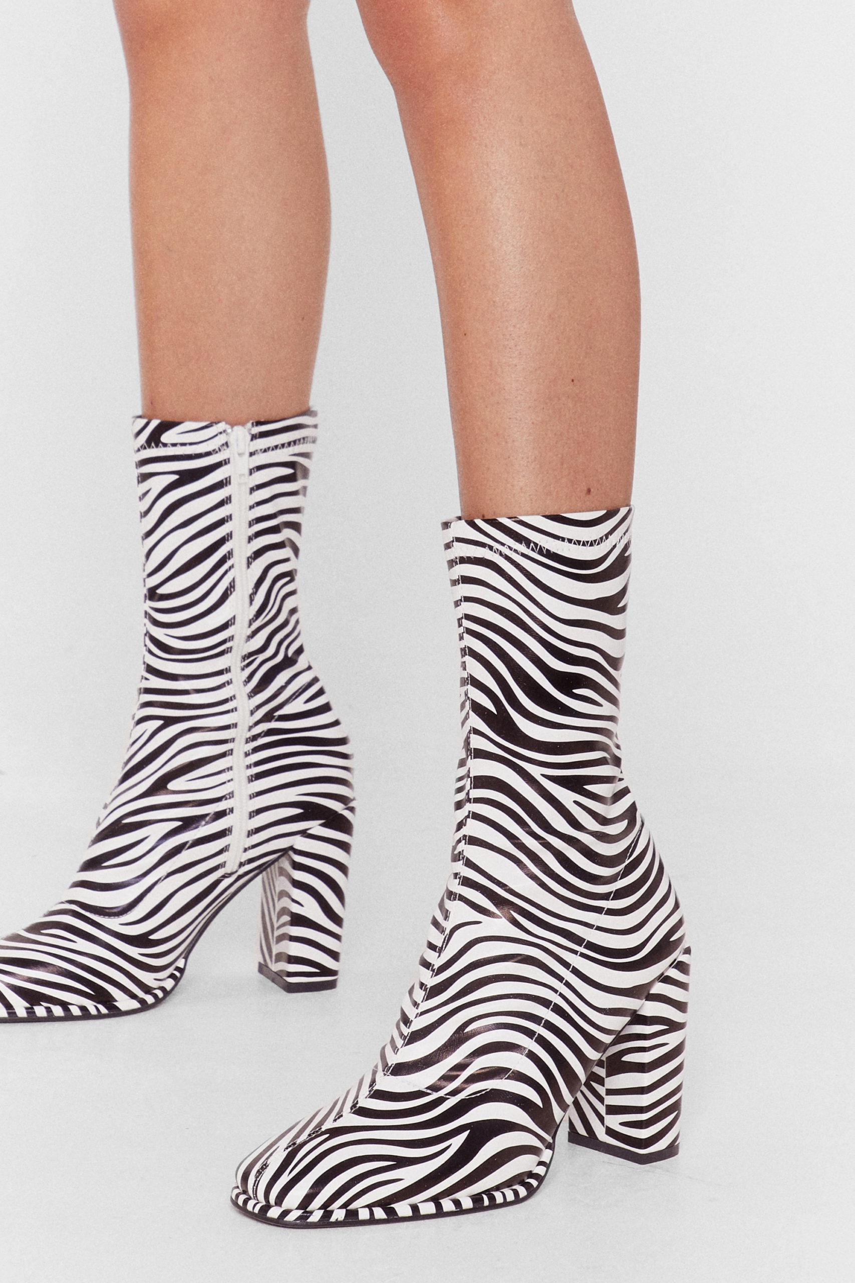 Zebra Heeled Sock Boots