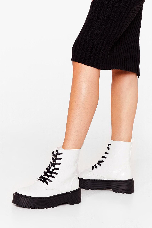 White Platform Biker Boots
