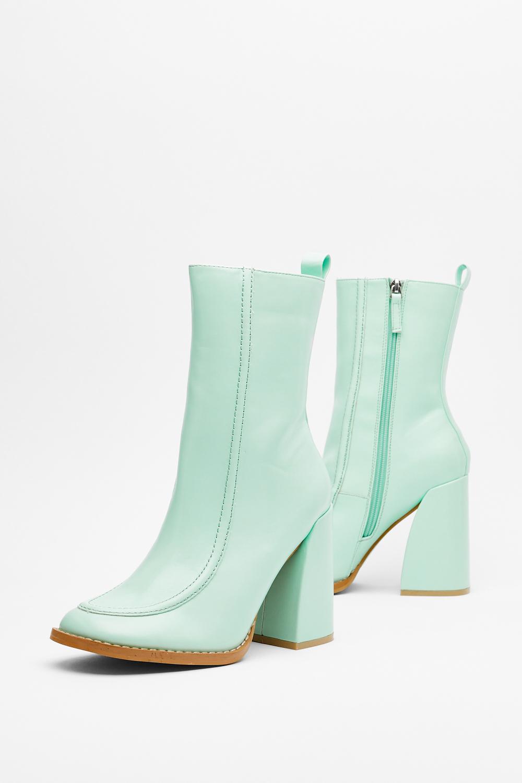 Mint Green Heeled Sock Boots