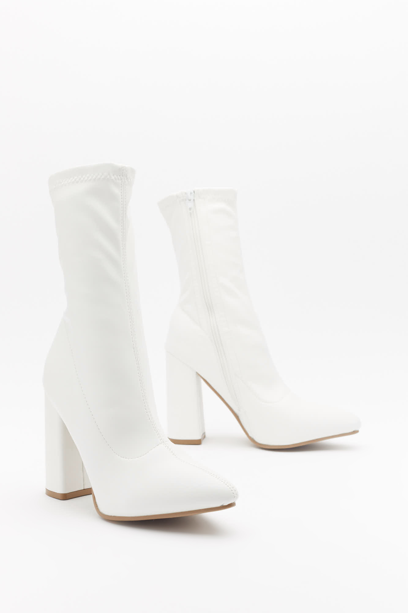 White Heeled Pointed Sock Boots