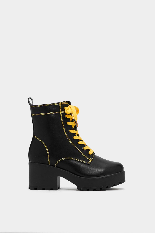 Yellow Lace Chunky Platform Boot