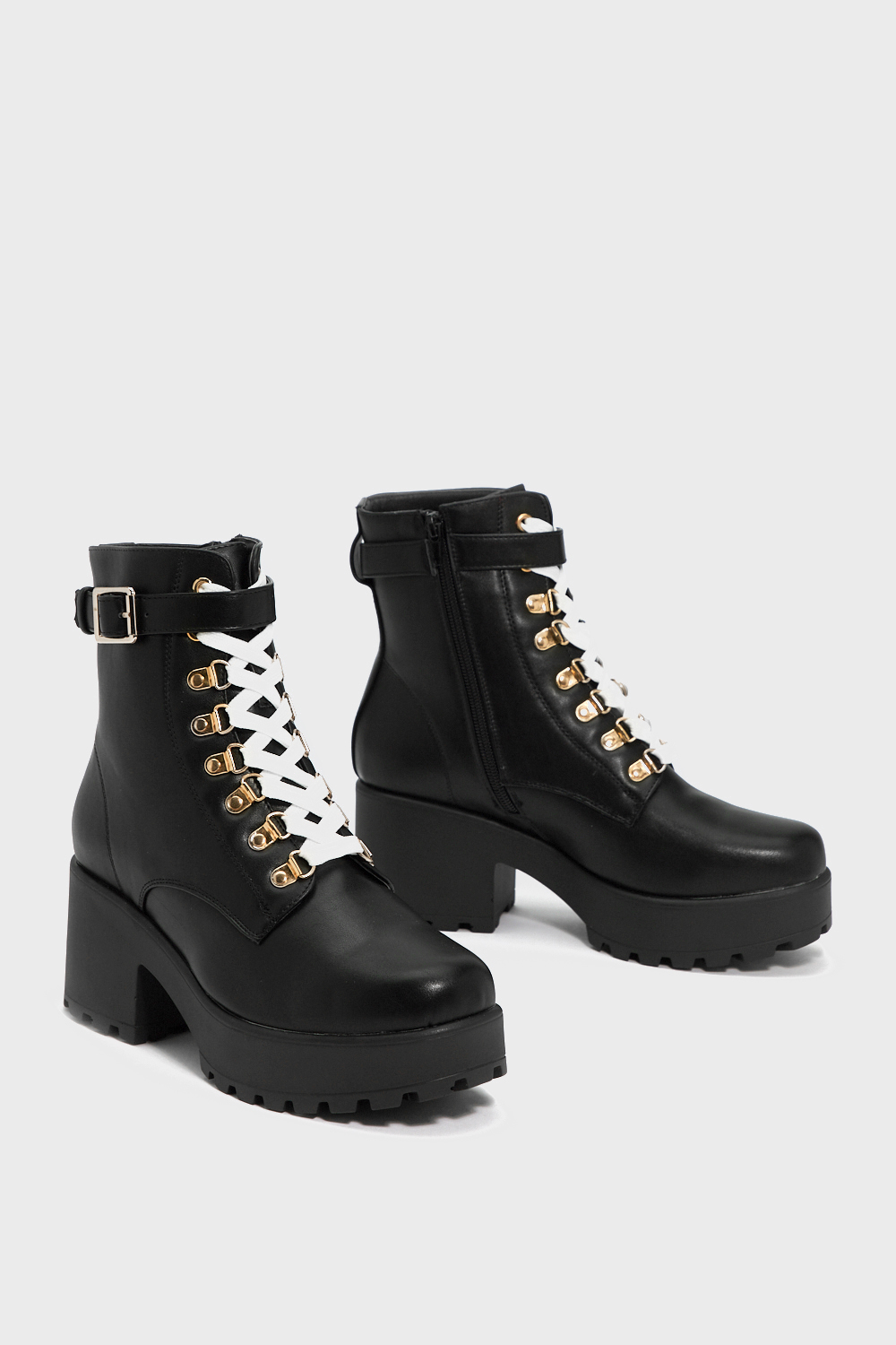 Faux Leather Lace Up Chunky Boots